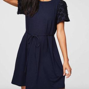 LOFT Petal Sleeve Navy Dress - Small